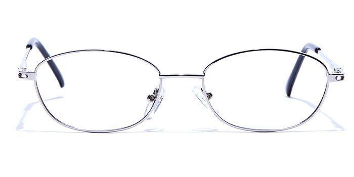 IZIBUKO by EyeMyEye E10A0204 Glossy Silver Full Frame Oval Eyeglasses for Women