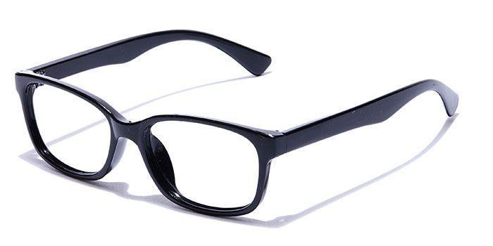 NERDLANE by EyeMyEye E12A1683 Glossy Black Full Frame Rectangle Computer Glasses for Kids