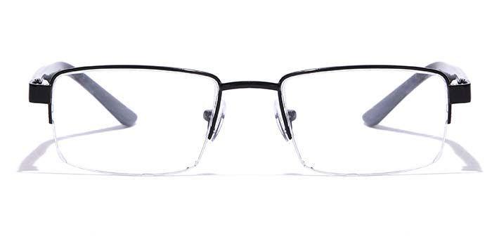 NERDLANE by EyeMyEye E12B0774 Glossy Black Half Frame Rectangle Eyeglasses for Men and Women