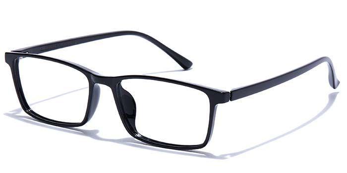 NERDLANE by EyeMyEye E12B1016 Glossy Black Full Frame Rectangle Eyeglasses for Men and Women