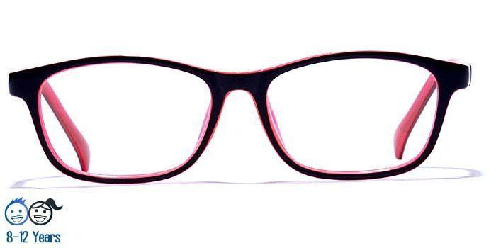 NERDLANE by EyeMyEye E12C0333 Glossy Black Full Frame Rectangle Eyeglasses for Kids