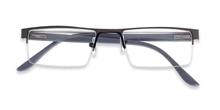 VISTAZO by EyeMyEye E13A2828 Gunmetal Half Frame Rectangle Eyeglasses for Men and Women
