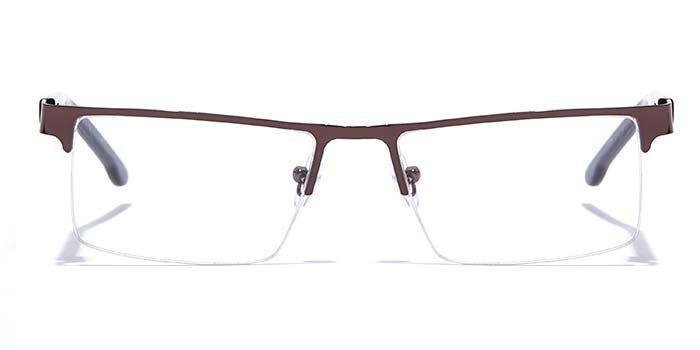 NERDLANE by EyeMyEye E15B0768 Glossy Brown Half Frame Rectangle Eyeglasses for Men and Women