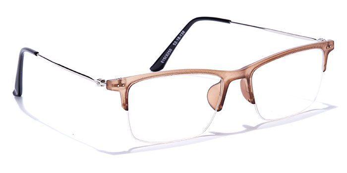 IZIBUKO by EyeMyEye E15C0141 Matte Brown Half Frame Retro Square Eyeglasses for Men and Women