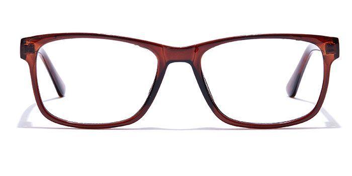 IZIBUKO by EyeMyEye E15C0200 Glossy Brown Full Frame Retro Square Eyeglasses for Men and Women
