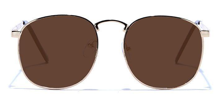 NERDLANE by EyeMyEye E25B1438 Glossy Gold Full Frame Round Color Blind Glasses