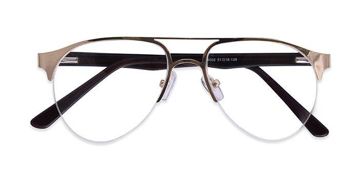 VISTAZO by EyeMyEye E25B2250 Gold Half Frame Clubmaster Eyeglasses for Men and Women