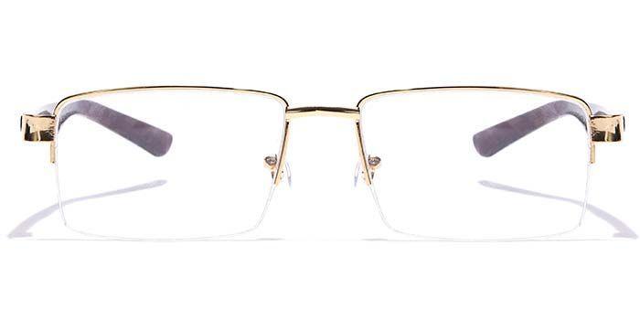 NERDLANE by EyeMyEye E25C0754 Glossy Gold Half Frame Rectangle Eyeglasses for Men and Women