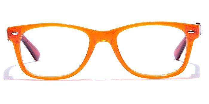 IZIBUKO by EyeMyEye E26B0176 Glossy Orange Full Frame Retro Square Eyeglasses for Men and Women
