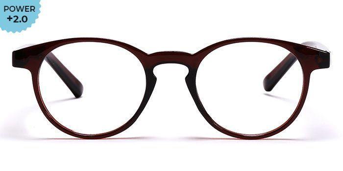 NERDLANE by EyeMyEye E33A1370 Brown Full Frame Round Reading Glasses for Men and Women