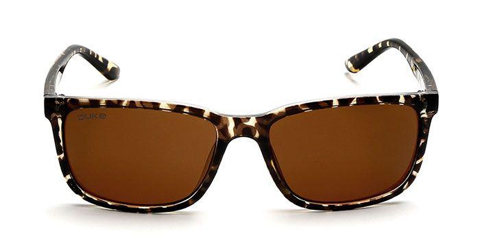 DUKE Tinted Brown Retro Square Sunglasses for Men and Women